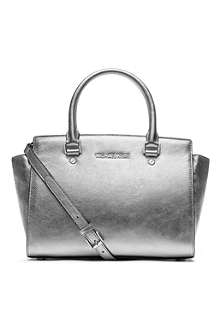 MICHAEL KORS Selma metallic leather messenger bag