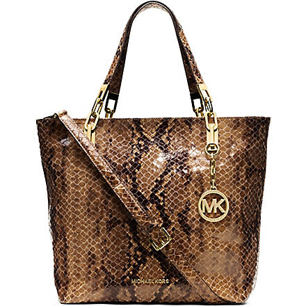 MICHAEL KORS Brooke medium mock-python leather tote (Sand