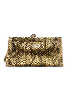 MICHAEL KORS Daria pleated embossed-leather clutch