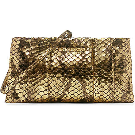 MICHAEL KORS Daria pleated embossed-leather clutch (Gold