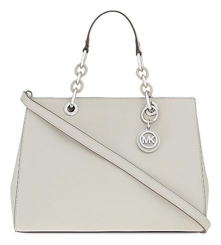 MICHAEL MICHAEL KORS Cynthia medium Saffiano leather satchel (Cement