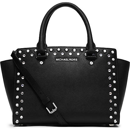 MICHAEL KORS Selma crystal saffiano leather satchel (Black