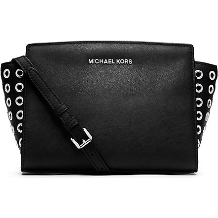 MICHAEL KORS Selma eyelet cross-body satchel (Black