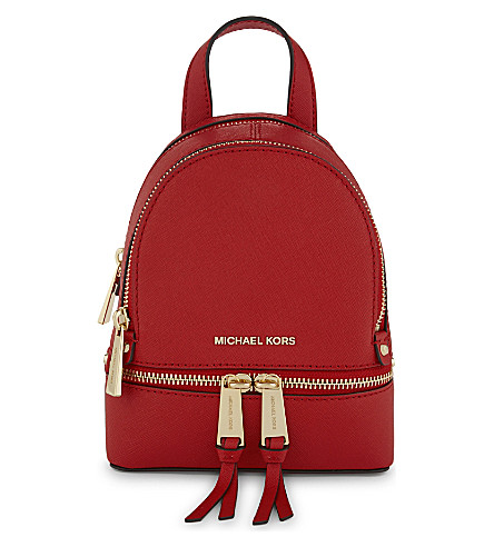 MICHAEL MICHAEL KORS Rhea extra-small saffiano leather backpack (Bright red