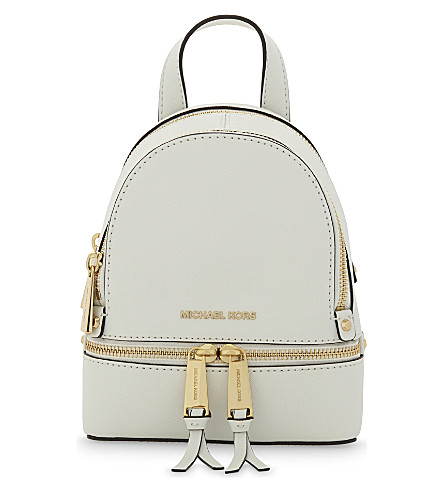 MICHAEL MICHAEL KORS Rhea extra-small saffiano leather backpack (Optic white