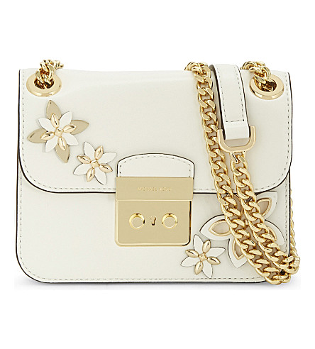 MICHAEL MICHAEL KORS Floral leather cross-body bag (Optic white
