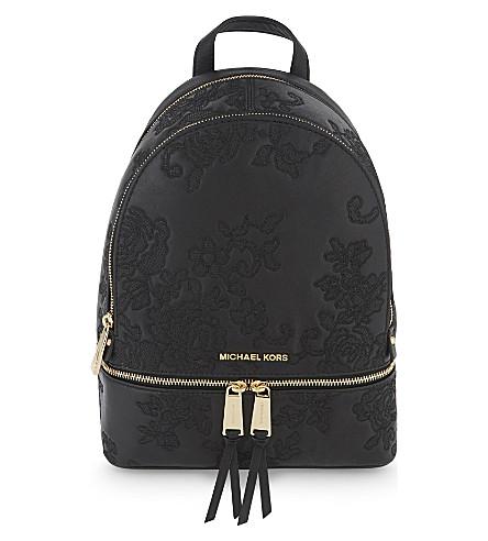 MICHAEL MICHAEL KORS Rhea lace medium leather backpack (Black