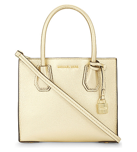 MICHAEL MICHAEL KORS Mercer medium leather tote (Pale+gold