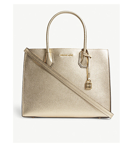 MICHAEL MICHAEL KORS Mercer large leather tote (Pale+gold