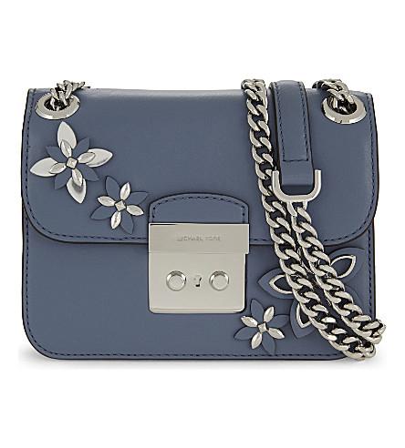 MICHAEL MICHAEL KORS Flowers leather shoulder bag (Pale blue