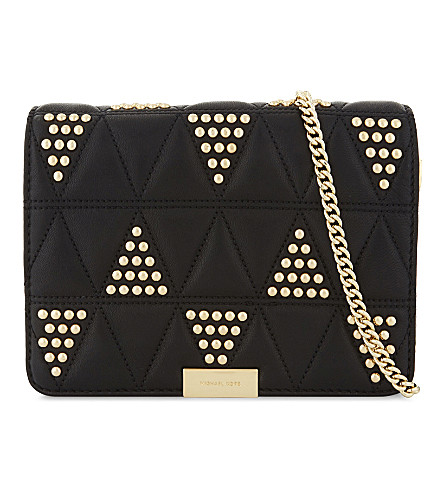 MICHAEL MICHAEL KORS Jade studded leather cross-body bag (Black