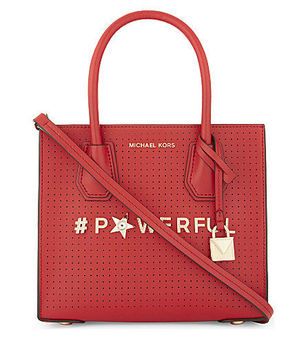 MICHAEL MICHAEL KORS Mercer medium perforated leather messenger (Bright+red