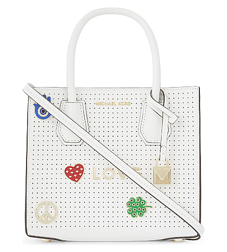 MICHAEL MICHAEL KORS Mercer perforated leather cross-body bag (Optic+white