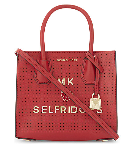 MICHAEL MICHAEL KORS Mercer perforated leather cross-body bag (Bright+red