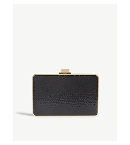 MICHAEL MICHAEL KORS 珍珠蛇浮雕皮盒手拿包 (黑色