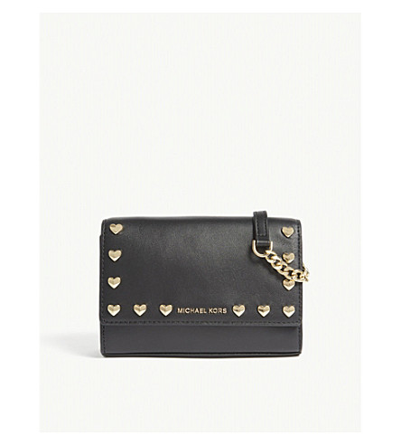 MICHAEL MICHAEL KORS Ruby leather clutch bag (Black