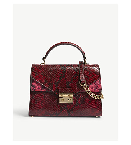 MICHAEL MICHAEL KORS Sloan medium snake-embossed leather shoulder bag (Red
