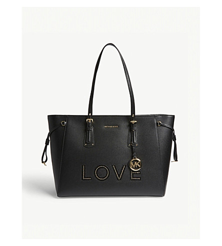 MICHAEL MICHAEL KORS Voyager Love large leather tote (Black