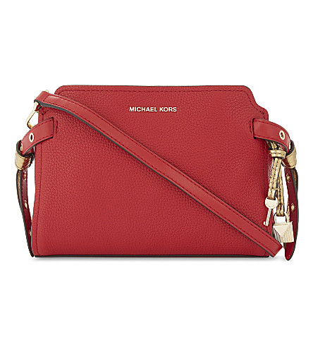 MICHAEL MICHAEL KORS Bristol leather messenger bag (Bright+red