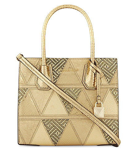 MICHAEL MICHAEL KORS Mercer medium leather messenger (Gold