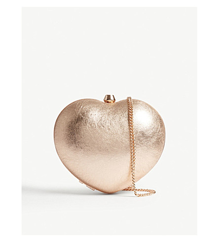 MICHAEL MICHAEL KORS Pearl heart metallic leather box clutch (Soft+pink