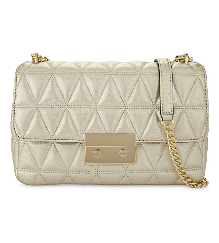 MICHAEL MICHAEL KORS Sloan large quilted leather shoulder bag (Pale+gold