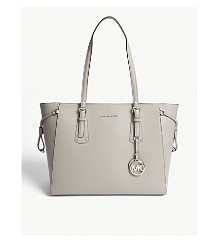 MICHAEL MICHAEL KORS Voyager medium Saffiano leather tote (Pearl+grey