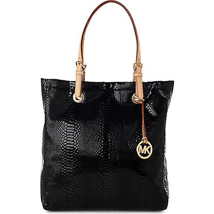 MICHAEL KORS Jet Set mock-python tote (Black