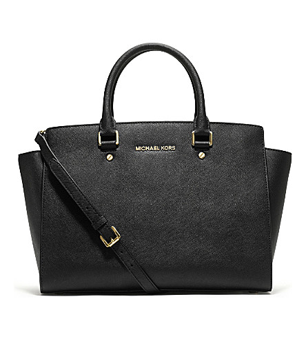 MICHAEL MICHAEL KORS Selma large Saffiano leather satchel (Black