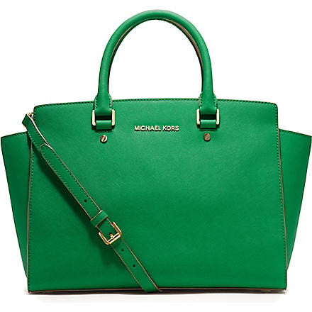 MICHAEL KORS Selma large top-zip satchel (Palm
