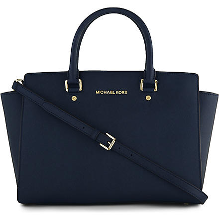 MICHAEL KORS Selma saffiano leather satchel (Navy