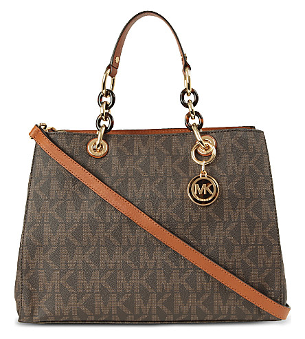 MICHAEL MICHAEL KORS Cynthia monogram saffiano tote bag (Brown
