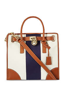 MICHAEL KORS Hamilton striped canvas tote bag