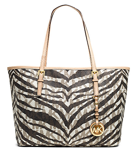 MICHAEL MICHAEL KORS Jet Set Travel small tiger-print tote (Vanilla