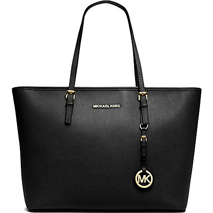 MICHAEL KORS Jet Set Travel medium saffiano leather tote (Black