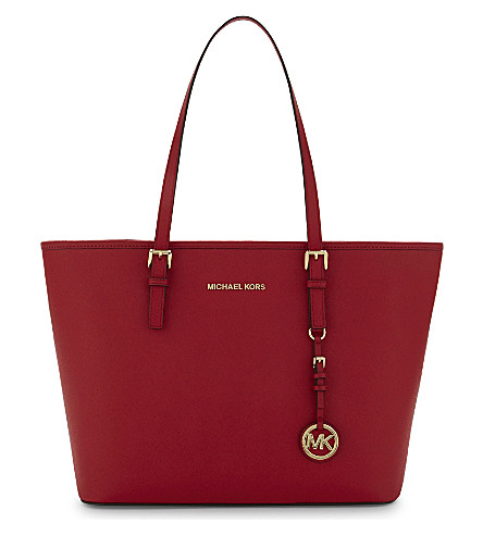 MICHAEL MICHAEL KORS Jet Set Travel Saffiano leather tote (Bright+red