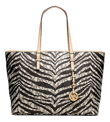 MICHAEL MICHAEL KORS Jet Set tiger print medium tote (Vanilla
