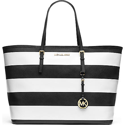 MICHAEL KORS Jet Set medium multifunctional tote (Black/white