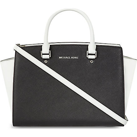 MICHAEL MICHAEL KORS Selma large contrast satchel (Black/optic white