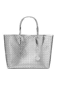 MICHAEL KORS Jet Set perforated medium leather tote