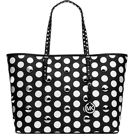 MICHAEL KORS Jet Set Travel studded polka dot tote (Black/white