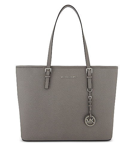 MICHAEL MICHAEL KORS Jet Set Travel leather tote (Pearl+grey