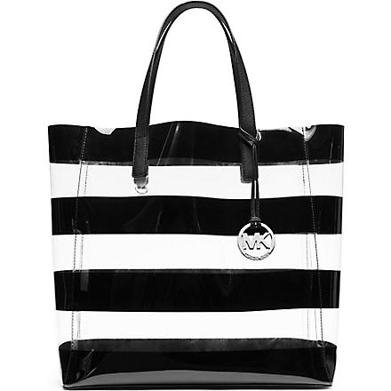 MICHAEL KORS Eliza large striped tote (Clear/black