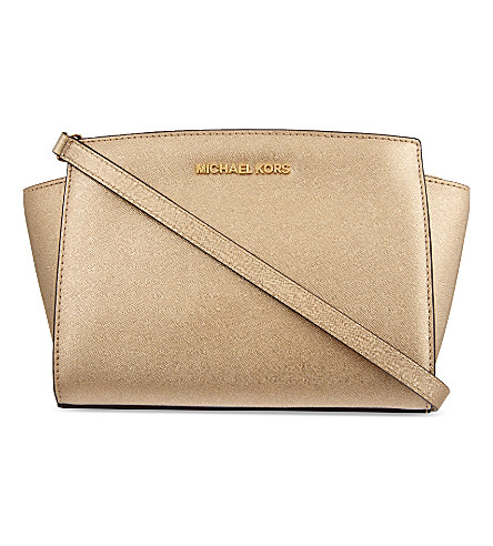 MICHAEL MICHAEL KORS Selma medium messenger bag (Pale+gold