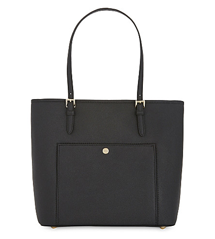MICHAEL MICHAEL KORS Jet Set snap pocket saffiano leather tote (Black