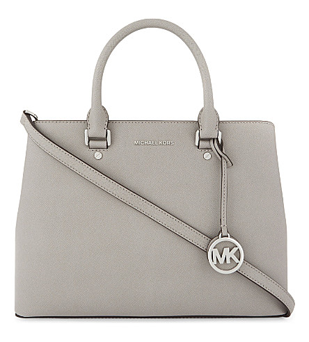 MICHAEL MICHAEL KORS Savannah large leather satchel (Pearl+grey