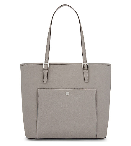 MICHAEL MICHAEL KORS Jet Set Item large Saffiano leather tote (Pearl+grey