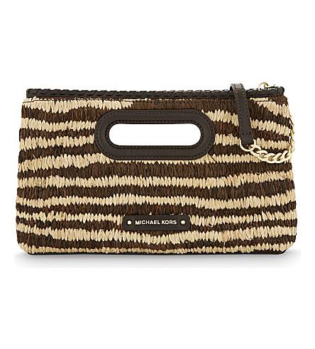 MICHAEL MICHAEL KORS Rosalie striped raffia clutch (Natural