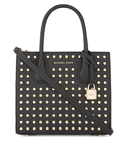 MICHAEL MICHAEL KORS Mercer studded medium leather shoulder bag (Black