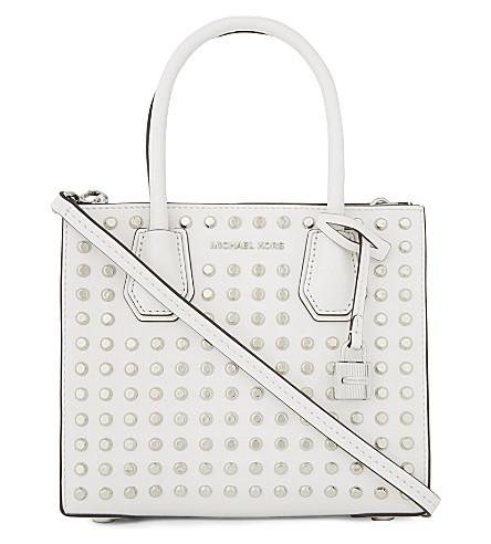 MICHAEL MICHAEL KORS Mercer studded leather messenger bag (Optic+white
